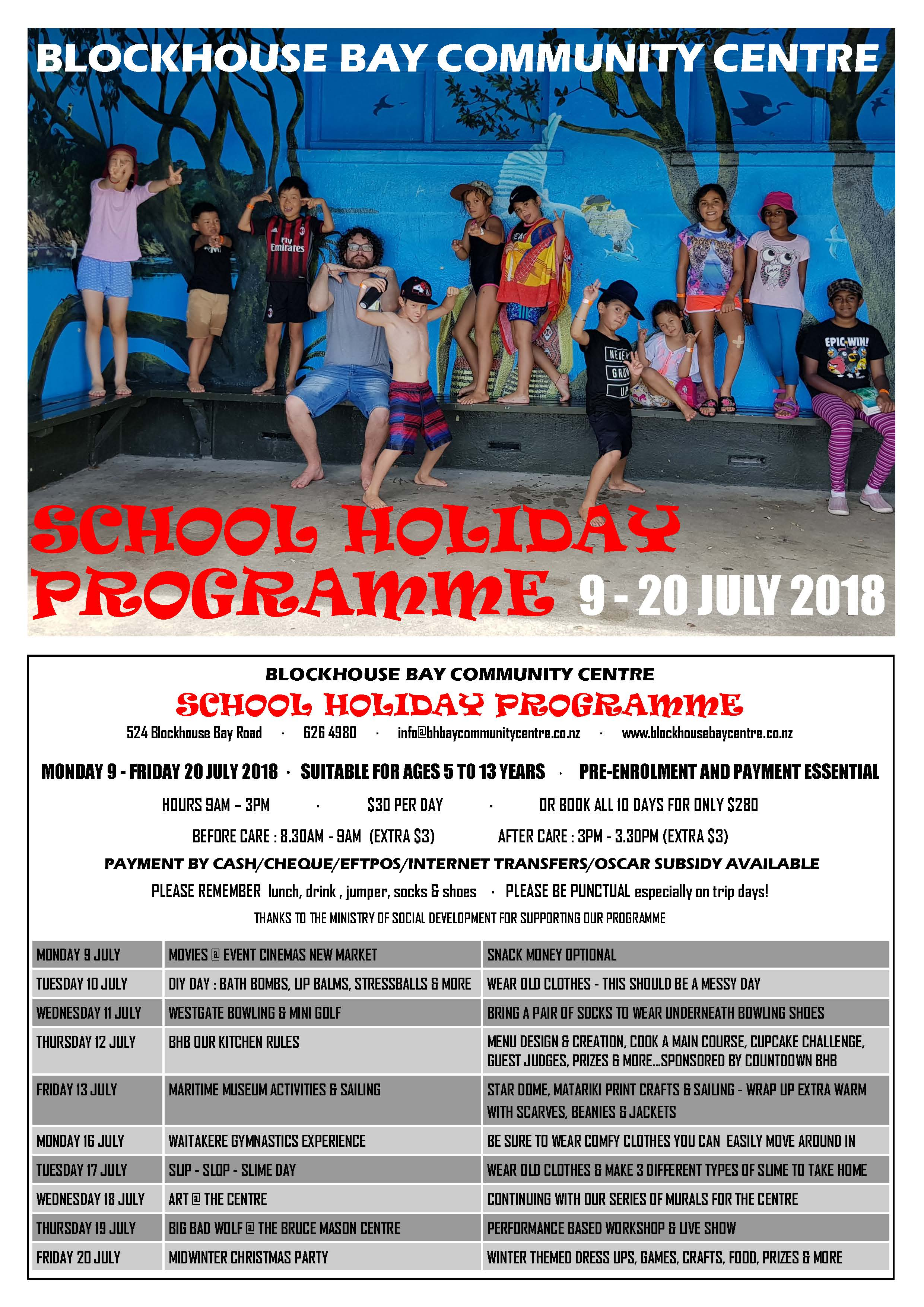 School Holiday July 2018